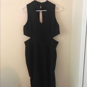 ASOS Black Cut Out Midi Dress Size 12